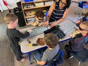Staff working with children